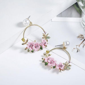 Round Circle  Earrings Sweet Flower jewelry